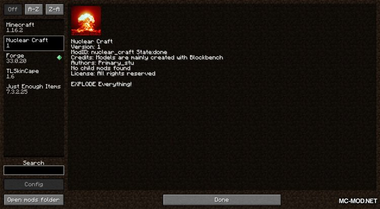 Atomic Explosion mod for Minecraft (1)