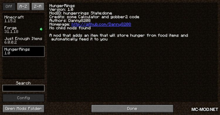 HungerRings mod for Minecraft (1)