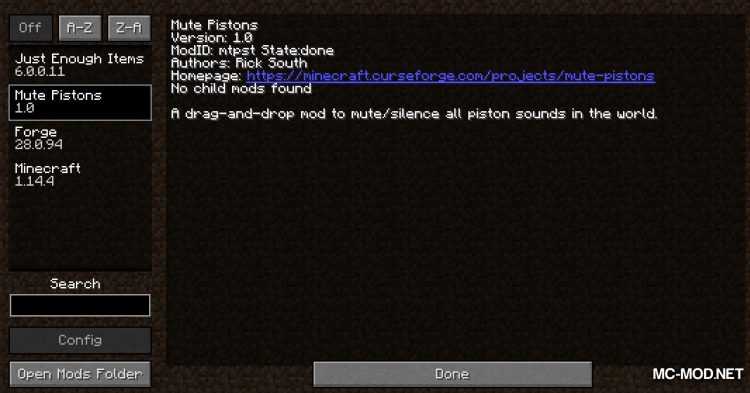 Mute Pistons mod for Minecraft (1)
