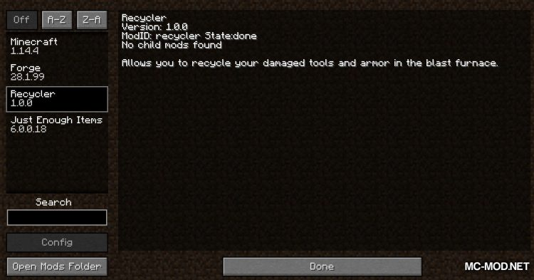 Recycler mod for Minecraft (1)