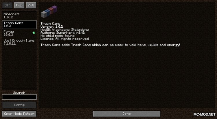 Trash Cans mod for Minecraft (1)