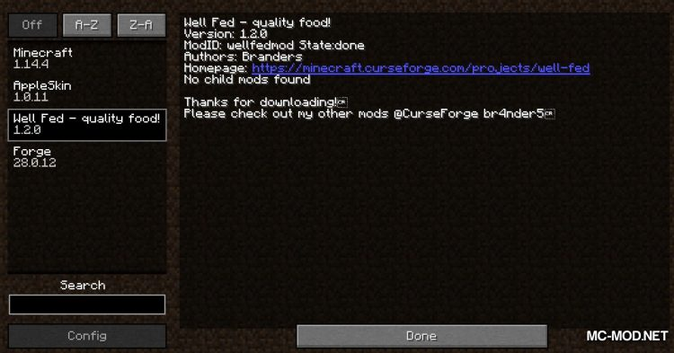 Well Fed mod for Minecraft (1)